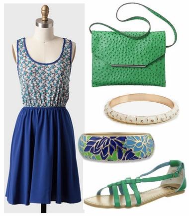 Cobalt dress, emerald sandals, green purse