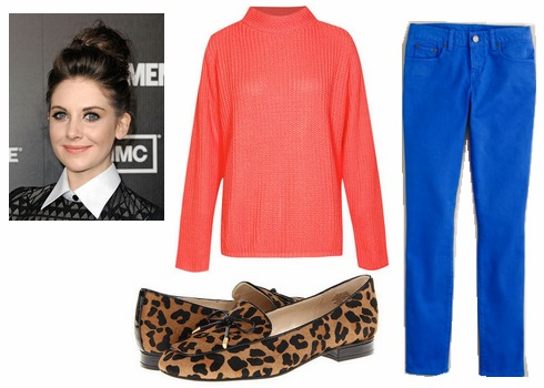 Cobalt jeans, pink sweater, leopard loafers
