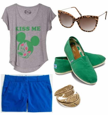 Cobalt shorts, green toms, graphic tee