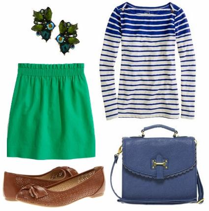 Cobalt stripe tee, emerald skirt, woven flats