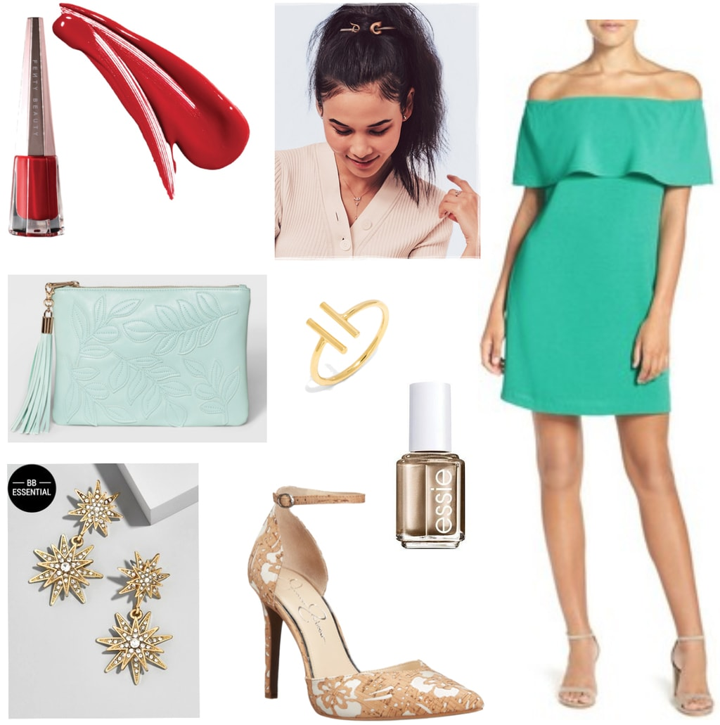 Cocktail party outfit for college: Green off the shoulder dress, mint clutch, statement star earrings, nude and white floral heels, gold nail polish, red lipstick, gold ponytail holder
