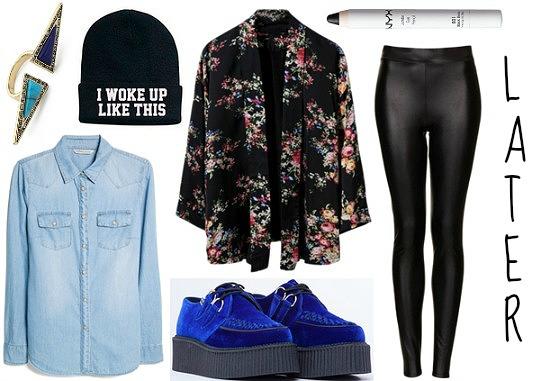 Colbalt creepers, leggings, denim shirt, floral blazer