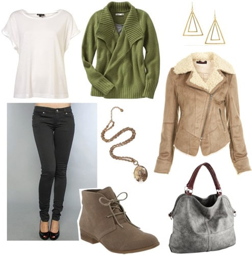Outfit for cold weather classes 1: Bomber jacket, skinny jeans, tee, cardigan, desert boots