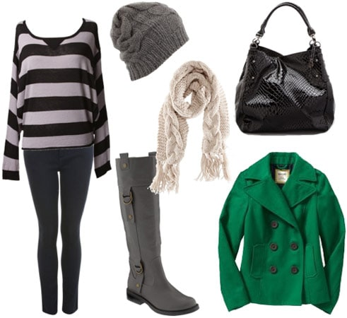 Outfit for cold weather classes 2: Striped sweater, boots, skinny jeans, bright coat, scarf, beanie