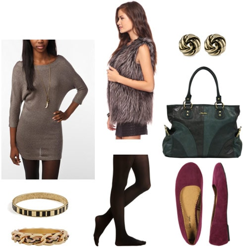 Outfit for cold weather classes 3: Sweater dress, faux fur vest, ballet flats, tights
