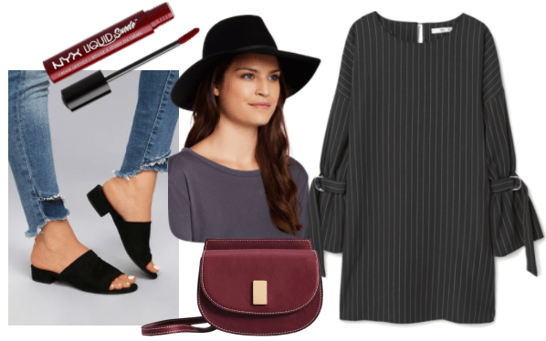 Outfit inspired by Cole Phelps from LA Noire video game: pinstripe buckled dress, black fedora, burgundy crossbody bag, black mules, NYX suede liquid lipstick in burgundy color