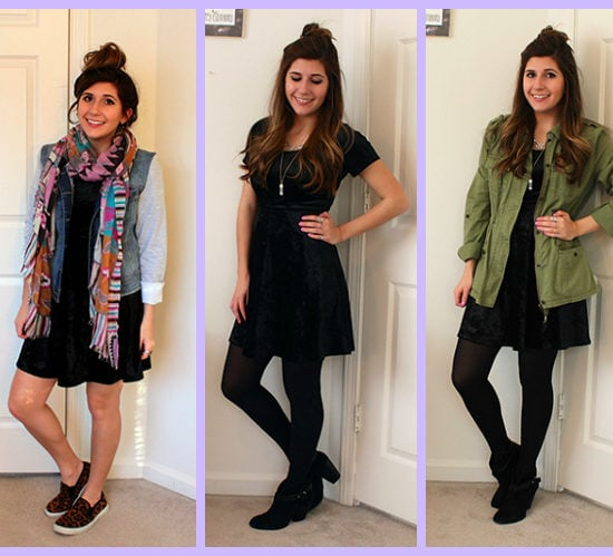 Collage-Black-Velvet-Dress-3-Ways-Tribal-Scarf-Green-Utility-Jacket-Class-to-Date-Night
