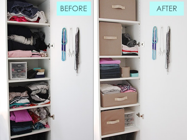 College closet organizing before after