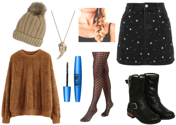 College dining hall date outfit: Brown sweater, patterned mini skirt in black and white, patterned tights, combat boots, beanie hat with pom pom, braid hairstyle, mascara, pendant necklace