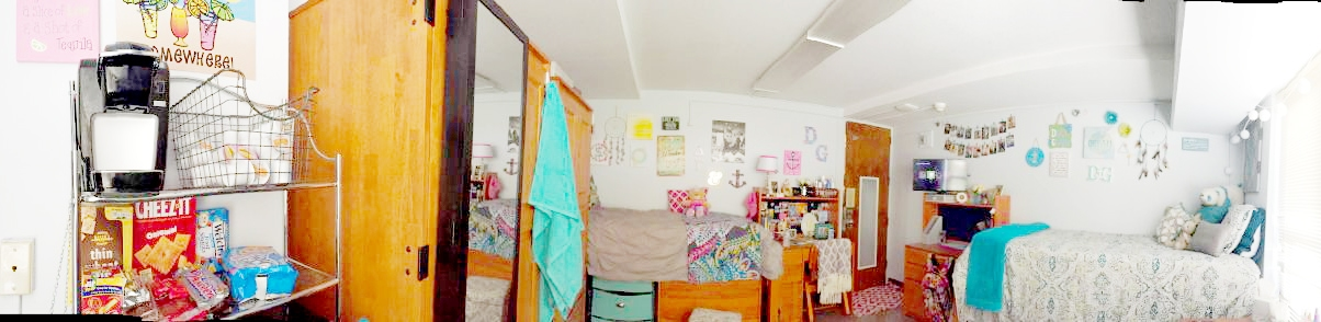 Colorful college dorm room