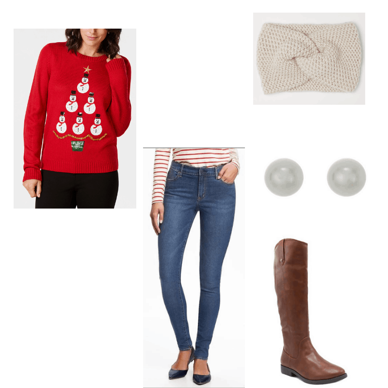 Outfit with snowman sweater, skinny jeans, riding boots, pearl earrings, and knit headband
