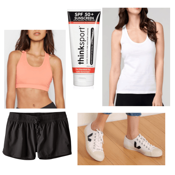 An outfit featuring active swimwear from sustainable brands