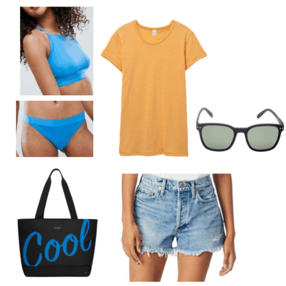 An outfit inspired by tropical colors featuring sustainable clothing