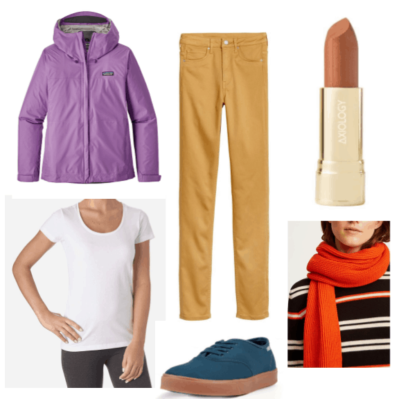 An outfit featuring multiple colors from sustainable brands