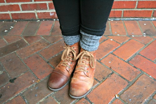 College fashion trend lace up boots and socks