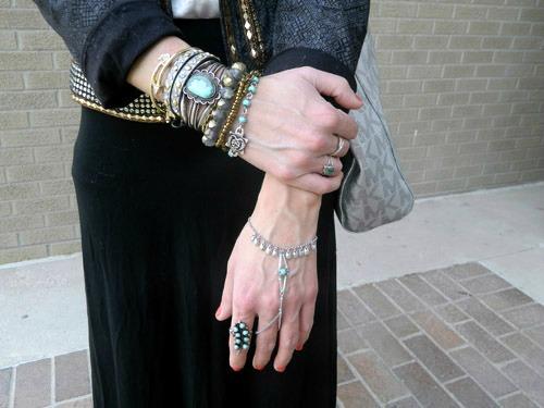 College fashion trend layered bracelets