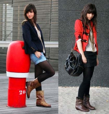 Betty from Le Blog de Betty wearing a military jacket