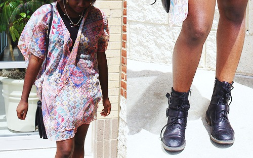 College fashion trends kimono jackets and combat boots