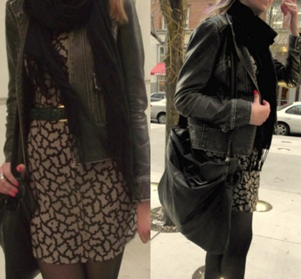 Patterned dress, shoulder bag, and leather jacket on our Loyola University Chicago fashionista