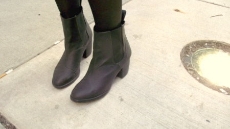 Cute mod boots on our Loyola University Chicago fashionista