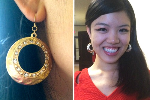 College fashionista wearing gold statement earrings