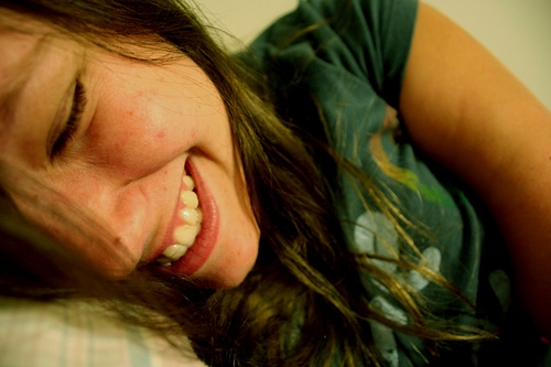 College girl laughing