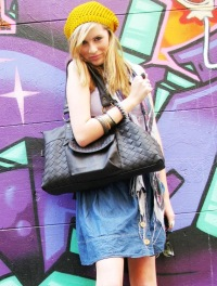 College Girl Holding A Black Tote Bag