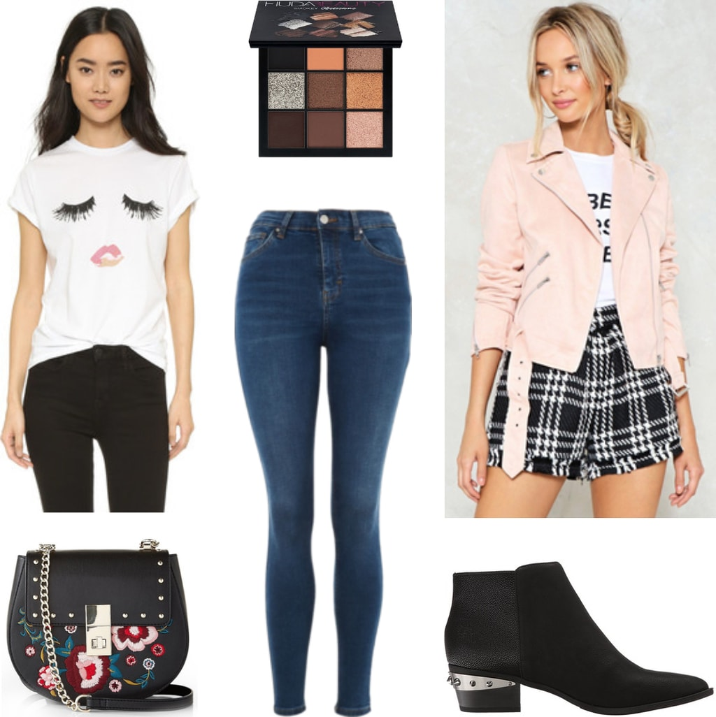 Casual night out outfit for college, going to a bar trivia night or drinking at a friend's house: Graphic tee shirt, classic skinny jeans, pink moto jacket, Huda beauty eyeshadow palette, embroidered crossbody bag, pointed toe ankle boots