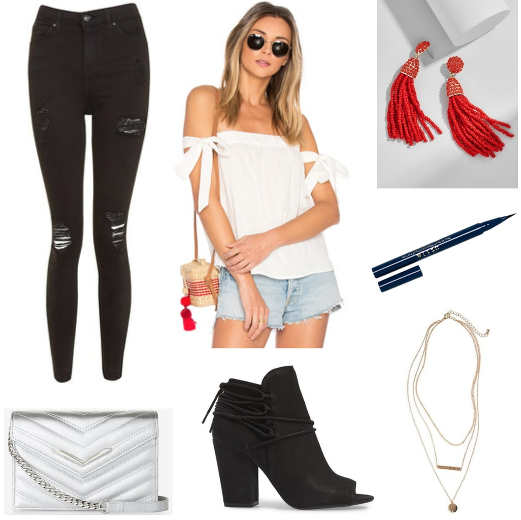 College party outfit for frat party, keg party, or on campus party -- ripped black jeans, black ankle booties, off the shoulder white top, metallic crossbody bag, red earrings, gold necklaces