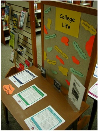 board with flyers and helpful tips about college life