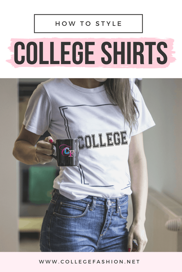 College shirt outfits: Photo of a girl wearing a t-shirt that says college on the front, holding a College Fashion logo mug