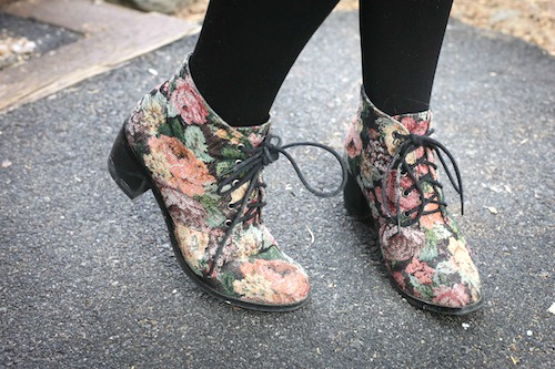 College shoe trend floral booties