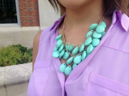 College street style mint necklace