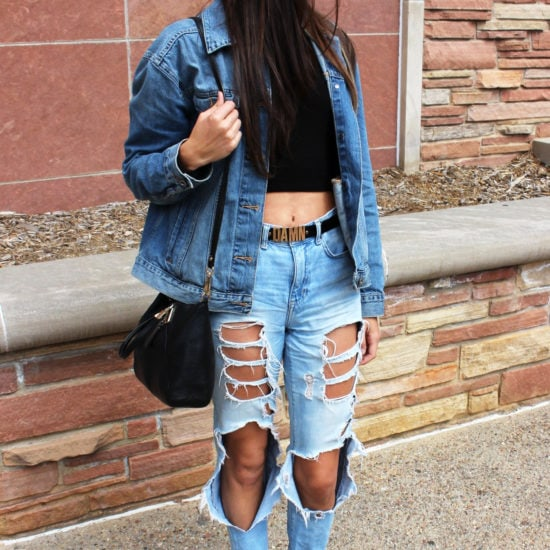 College student street style at University of Colorado Boulder - ripped jeans, green ankle boots, jean jacket, crop top