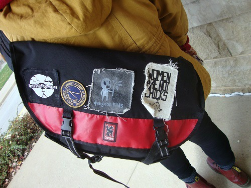 College student carrying personalized backpack