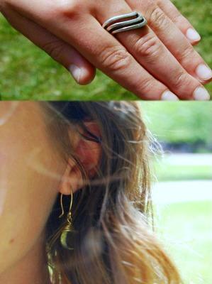 College student fashionista rocking minimalist yet chic jewelry