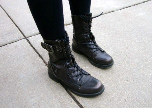 College student in combat boots