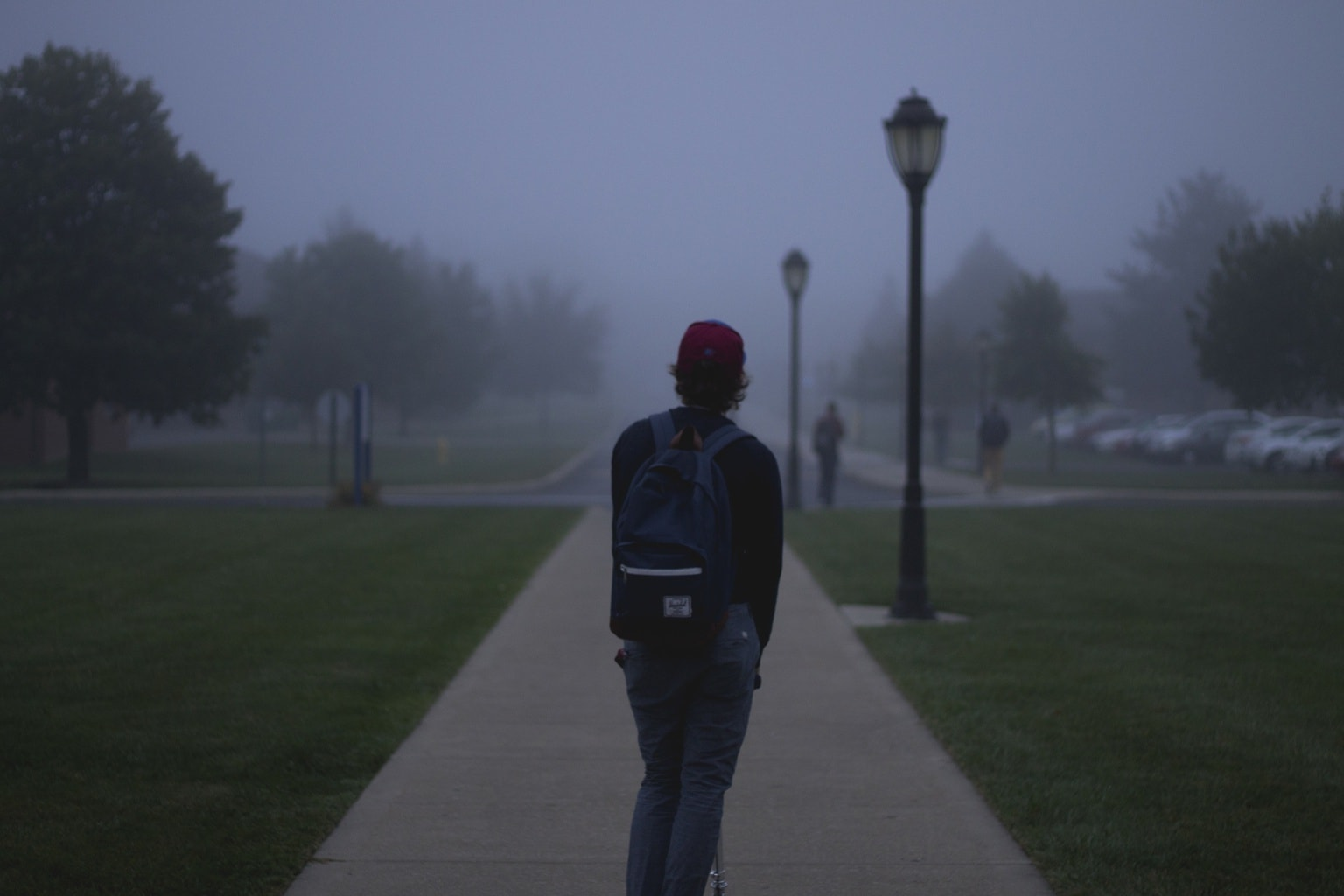 College student in the fog