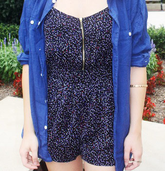 College student street style - printed romper