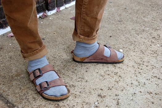 College student wearing Birkenstocks