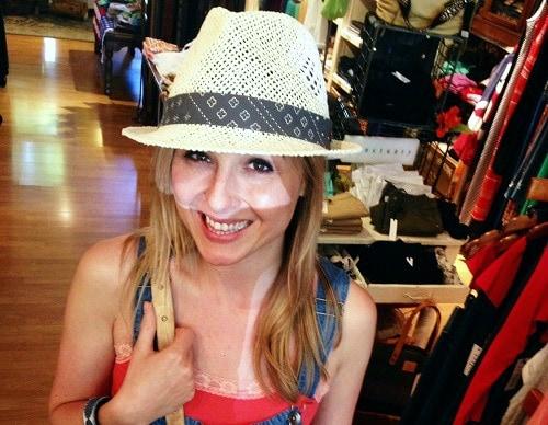College student wearing fedora