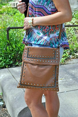 College student with crossbody bag