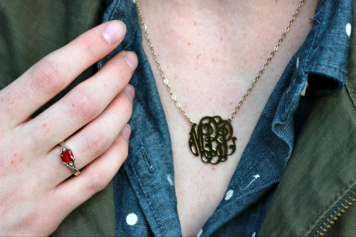 College student with monogrammed necklace