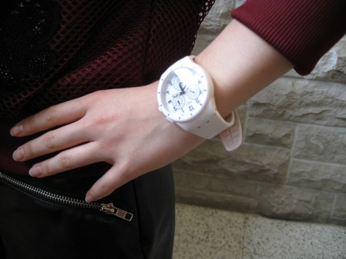 College student with white watch