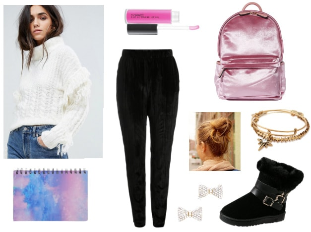 Outfit for college study date with white fringe sweater, black joggers, pink velvet backpack, cozy boots, bangle bracelets, galaxy print notebook, bow stud earrings, messy bun, pink lip gloss