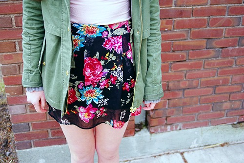 College style trend floral skirts
