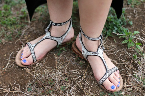 College style trend metallic sandals