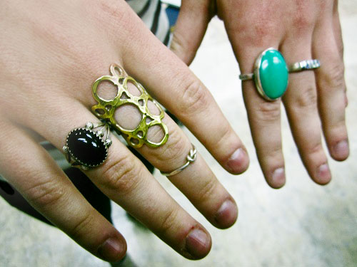 College trend on a street style fashionista at the University of Iowa: Rings