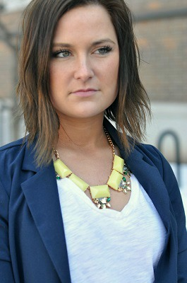 Coloful statement necklace at indiana state university