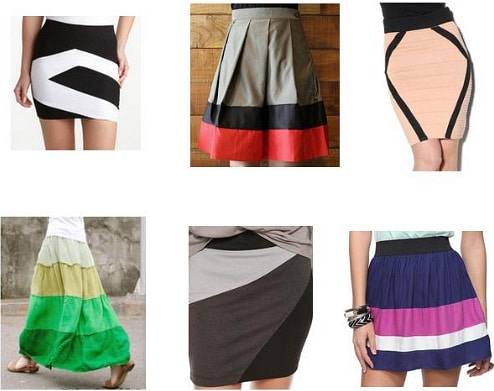 Color block skirts under $50